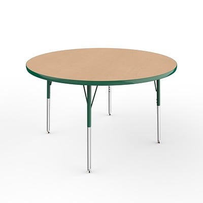ECR4Kids Thermo-Fused Adjustable Swivel 48 Round Laminate Activity Table Maple/Green (ELR-14215-MPGNGNSS)
