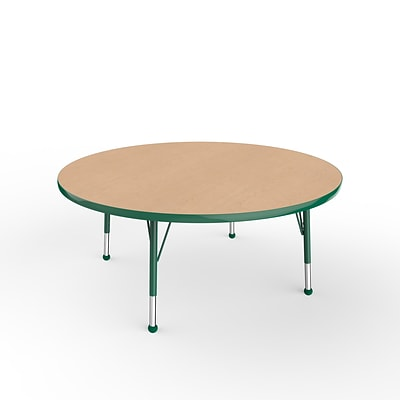 ECR4Kids Thermo-Fused Adjustable Ball 48 Round Laminate Activity Table Maple/Green (ELR-14215-MPGNGNTB)