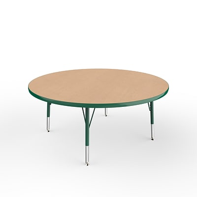 ECR4Kids Thermo-Fused Adjustable Swivel 48 Round Laminate Activity Table Maple/Green (ELR-14215-MPGNGNTS)