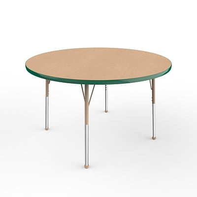 ECR4Kids Thermo-Fused Adjustable Ball 48 Round Laminate Activity Table Maple/Green/Sand (ELR-14215-MPGNSDSB)