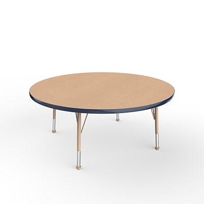 ECR4Kids Thermo-Fused Adjustable Ball 48 Round Laminate Activity Table Maple/Navy/Sand (ELR-14215-MPNVSDTB)