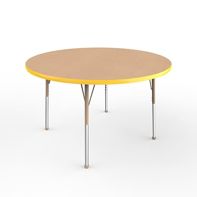 ECR4Kids Thermo-Fused Adjustable Ball 48 Round Laminate Activity Table Maple/Yellow/Sand (ELR-14215-MPYESDSB)