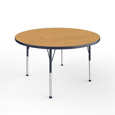 ECR4Kids Thermo-Fused Adjustable Ball 48 Round Laminate Activity Table Oak/Navy (ELR-14215-OKNVNVSB)