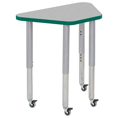 ECR4Kids T-Mold Adjustable Leg 30 x 18 Trapezoid Laminate Activity Table Grey/Green/Silver (ELR-14118-GGNSV-SL)