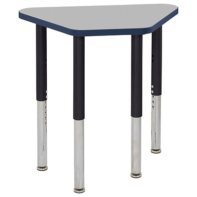 ECR4Kids Thermo-Fused Adjustable Leg 30 x 18 Trapezoid Laminate Activity Table Grey/Navy/Black (ELR-14218-GYNVBKSL)