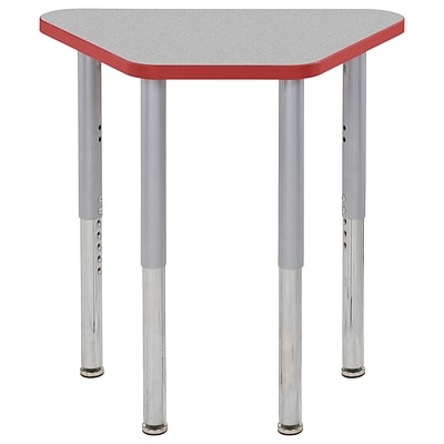 ECR4Kids Thermo-Fused Adjustable Leg 30 x 18 Trapezoid Laminate Activity Table Grey/Red/Silver (ELR-14218-GYRDSVSL)
