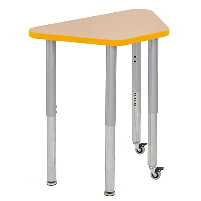 ECR4Kids Thermo-Fused Adjustable Leg 30 x 18 Trapezoid Laminate Activity Table Maple/Yellow/Silver (ELR-14218-MPYESVSL)