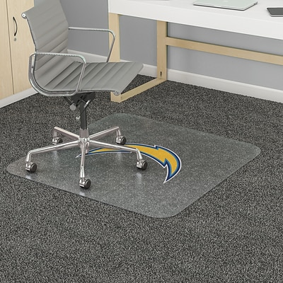 Deflecto Los Angeles Chargers SuperMat 45 x 53 Rectangle Medium Pile Chair Mat (NFL14242LACCOM)