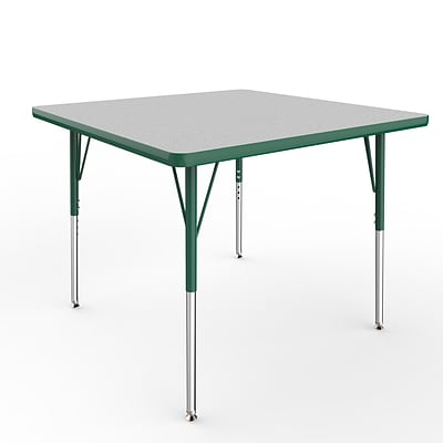 ECR4Kids Thermo-Fused Adjustable Swivel 36 Square Laminate Activity Table Grey/Green (ELR-14223-GYGNGNSS)