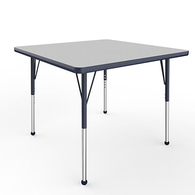 ECR4Kids Thermo-Fused Adjustable Ball 36 Square Laminate Activity Table Grey/Navy (ELR-14223-GYNVNVSB)