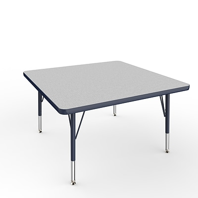 ECR4Kids Thermo-Fused Adjustable Swivel 36 Square Laminate Activity Table Grey/Navy (ELR-14223-GYNVNVTS)