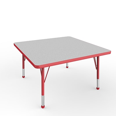 ECR4Kids Thermo-Fused Adjustable Ball 36 Square Laminate Activity Table Grey/Red (ELR-14223-GYRDRDTB)