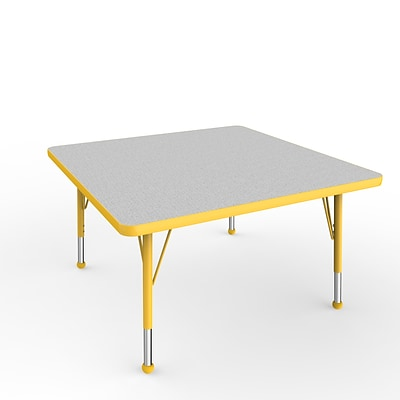 ECR4Kids Thermo-Fused Adjustable Ball 36 Square Laminate Activity Table Grey/Yellow (ELR-14223-GYYEYETB)