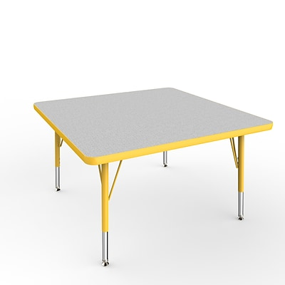 ECR4Kids Thermo-Fused Adjustable Swivel 36 Square Laminate Activity Table Grey/Yellow (ELR-14223-GYYEYETS)