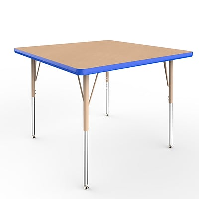 ECR4Kids Thermo-Fused Adjustable Swivel 36 Square Laminate Activity Table Maple/Blue/Sand (ELR-14223-MPBLSDSS)