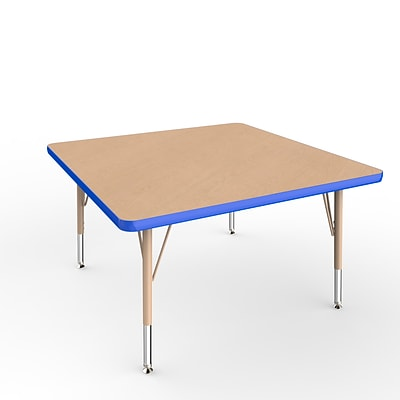 ECR4Kids Thermo-Fused Adjustable Swivel 36 Square Laminate Activity Table Maple/Blue/Sand (ELR-14223-MPBLSDTS)