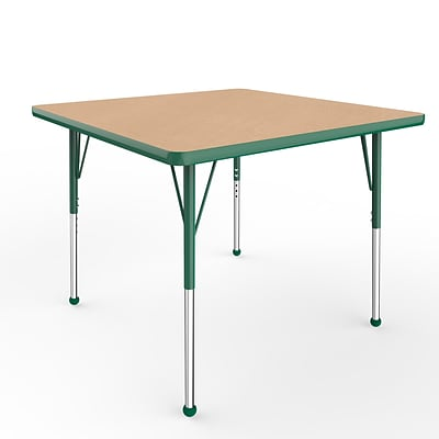 ECR4Kids Thermo-Fused Adjustable Ball 36 Square Laminate Activity Table Maple/Green/Green (ELR-14223-MPGNGNSB)