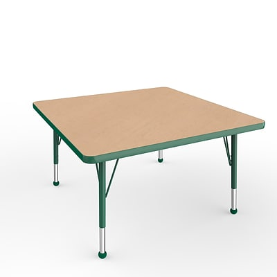 ECR4Kids Thermo-Fused Adjustable Ball 36 Square Laminate Activity Table Maple/Green (ELR-14223-MPGNGNTB)