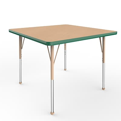ECR4Kids Thermo-Fused Adjustable Ball 36 Square Laminate Activity Table Maple/Green/Sand (ELR-14223-MPGNSDSB)