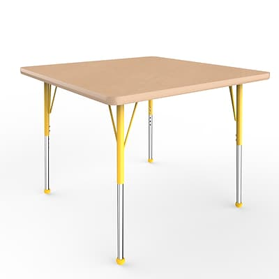 ECR4Kids Thermo-Fused Adjustable Ball 36 Square Laminate Activity Table Maple/Maple/Yellow (ELR-14223-MPMPYESB)
