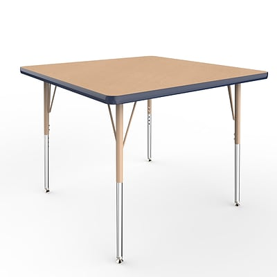 ECR4Kids Thermo-Fused Adjustable Swivel 36 Square Laminate Activity Table Maple/Navy/Sand (ELR-14223-MPNVSDSS)