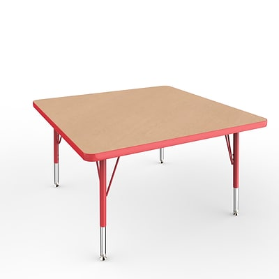 ECR4Kids Thermo-Fused Adjustable Swivel 36 Square Laminate Activity Table Maple/Red (ELR-14223-MPRDRDTS)