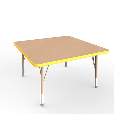 ECR4Kids Thermo-Fused Adjustable Ball 36 Square Laminate Activity Table Maple/Yellow/Sand (ELR-14223-MPYESDTB)