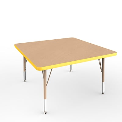 ECR4Kids Thermo-Fused Adjustable Swivel 36 Square Laminate Activity Table Maple/Yellow/Sand (ELR-14223-MPYESDTS)
