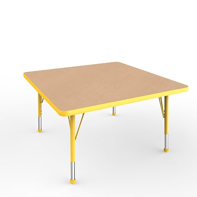 ECR4Kids Thermo-Fused Adjustable Ball 36 Square Laminate Activity Table Maple/Yellow (ELR-14223-MPYEYETB)