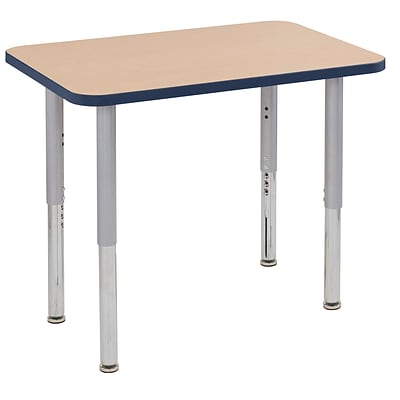 ECR4Kids Thermo-Fused Adjustable Leg 36 x 24 Rectangle Laminate Activity Table Maple/Navy/Silver (ELR-14206-MPNVSVSL)