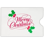 LUX Credit Card Sleeve, 2-3/8 x 3-1/2, Merry Christmas on White, 50/Pack (1801-24WMC-50)