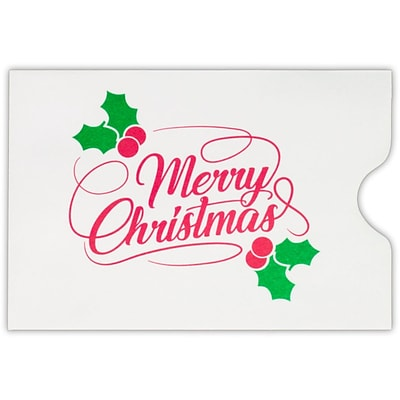 LUX Credit Card Sleeve, 2-3/8 x 3-1/2, 500/Pack, Merry Christmas on White (1801-24WMC-500)