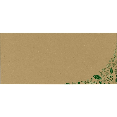 LUX #10 Square Flap Envelopes, 4-1/8 x 9-1/2, 250/Pack, Holiday Leaves on Grocery Bag (LUX4860GBB250)