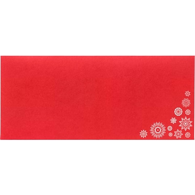 LUX #10 Square Flap Envelopes, 4-1/8 x 9-1/2, 250/Pack, Snowflakes on Ruby Red (LUX486018HH250)