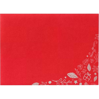 LUX A7 Invitation Envelopes, 5-1/4 x 7-1/4, 50/Pack, Holiday Leaves on Ruby Red (LUX-4880-18G-50)