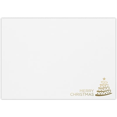 LUX A7 Foil Lined Invitation Envelopes, 5-1/4 x 7-1/4, 50/Pack, Vintage Gold Tree on White (FLWH488004GT50)