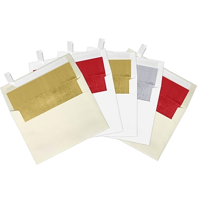 LUX A7 Foil Lined Invitation Envelopes, 5-1/4 x 7-1/4, Holiday Assorted 500 Pack (FOILLINEDPACK10)
