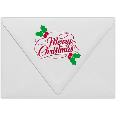 LUX A7 Contour Flap Envelopes, 5-1/4 x 7-1/4, 250/Pack, Merry Christmas on White (1880-80WMC-250)