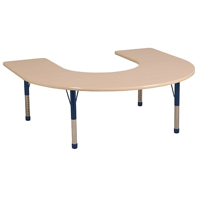 ECR4Kids Thermo-Fused Adjustable 66 x 60 Horseshoe Laminate Activity Table Maple/Maple/Navy (ELR-14203-MPMPNVCH)