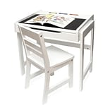 Lipper International® 654WH 24 3/4W x 18D Childs Desk and Chair Set with Chalkboard Top, White