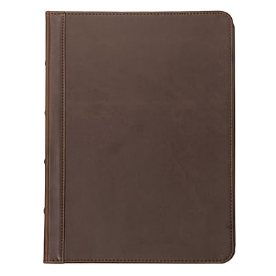 Samsill® Dark Brown Vintage Hardback Zipper Padfolio (70836)