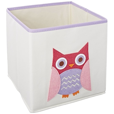 Whitmor Kids Canvas Collapsible Cube Bin, Pink Owl (62414762PNKOWL)