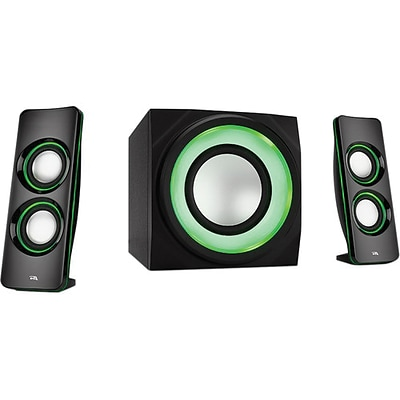 Cyber Acoustics Curve Lights CA-3712BT 2.1-Channel Bluetooth Speaker System with LED Lighting Effects, Black