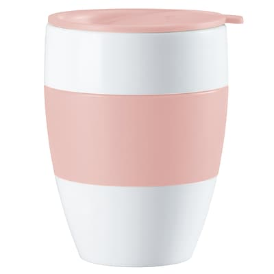 Koziol White with Powder Pink AROMA TO GO 2.0 Insulated Cup with Lid, 13.5 oz (3589486)