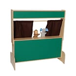 Wood Designs Deluxe Puppet Theater with Chalkboard & Brown Curtains (21650BN)