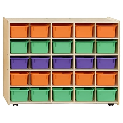 Contender™ Mobile 25 Tray Storage with Assorted Pastel Trays -Assembled with Casters (C1600APF-C5)