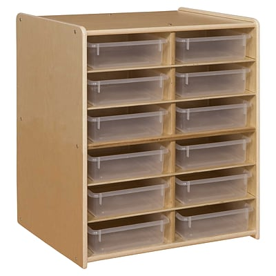 Contender™ 12 Letter Tray Cubby Storage with Translucent Trays - Assembled (C990659CTF)