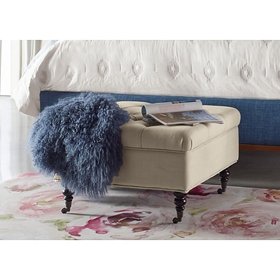 Serta Abbot Square Tufted Ottoman with Storage and Casters, Ivory Dream (OTMABTIVYL02)