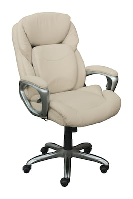 Serta Works My Fit Bonded Leather Executive Office Chair with 360 Motion Support, Inspired Ivory (CHR200063)