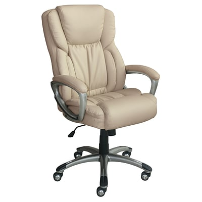 Serta Works Bonded Leather Executive Office Chair, American Beige (CH200112)